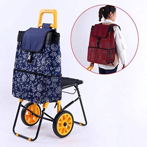 DFHSF Einkaufstrolley - Extra große Reifen - Abnehmbare & regenfeste Tasche - Aufhängung für den Einkaufswagen/Klappbarer Shopper/Einkaufsroller/Handwagen A/C