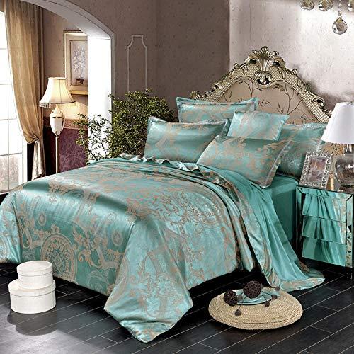 Dekbedovertrek voor tweepersoonsbed, jacquard-satijn, 1,5 m, 4-delig, van katoen, 200 x 230 cm, lichtgroen