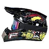 R&P Casco de motocross, para adultos, para exteriores, casco de bicicleta de montaña, de cara completa, para motocross, todoterreno, motocross, motociclismo (Negro brillante, XL)