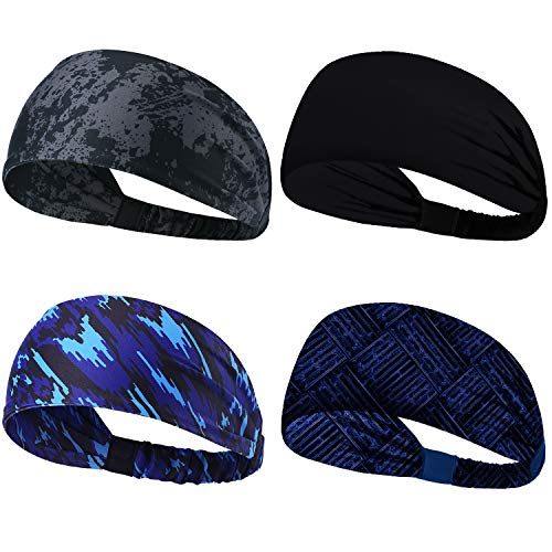 Obacle Headbands for Men Women Sweat Bands Headbands Non Slip Breatheable Head Band Outdoor Sports Workout Yoga Elastic Band (Elastic Band 4 Pack Solid Black Gray Blue Blue-02)