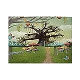 Rompecabezas de 500 piezas,cuento de Alicia en el país de las maravillas con árboles de setas de fantasía en la pradera del campo,juego de rompecabezas familiar grande,ilustraciones para adultos