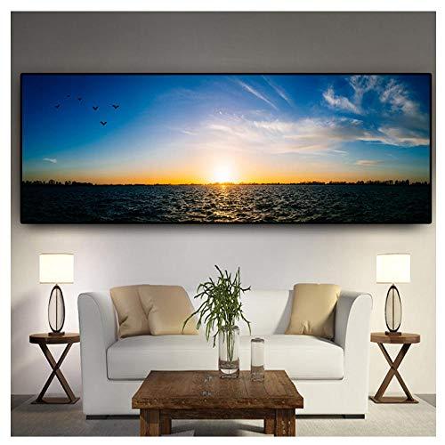 Wxswz Wave Sea Sunset Nordische Landschaft Poster Und Drucke Leinwand Gemälde Mediterran Skandinavische Wandkunst Bild Für Wohnzimmer 40X120Cm Ohne Rahmen