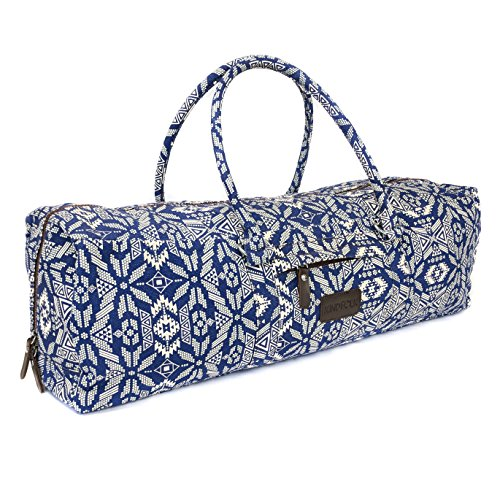 Kindfolk Yoga Mat Duffel Bag Patterned Canvas with Pocket and Zipper (Bravo)