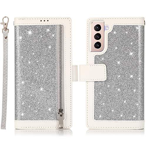 EYZUTAK Schutzhülle für Samsung Galaxy S21 5G, magnetisch, mit Reißverschluss, Kunstleder, Klappdeckel mit 9 Kartenfächern & Handschlaufe, mit Standfunktion, silberfarben