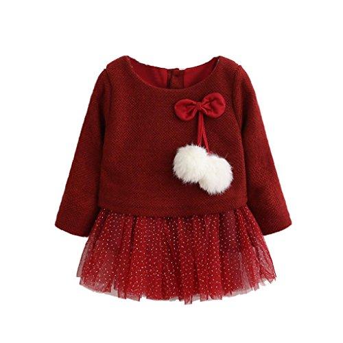 Kobay Kleinkind Baby Kind Mädchen Lange Ärmel gestrickt Bow Newborn Tutu Prinzessin Kleid 0-24M (80/6-12Monat, Rot)