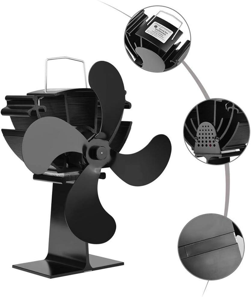 SEESEE.U Ventilador térmico para Chimenea, Ventilador Calefactor de 4 aspas con Chimenea para Estufas de leña, Ventilador eficiente y ecológico (Negro)