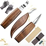 SibyTech Wood Carving Tools 5 in 1 Knife Set - Includes Cut Resistant Gloves, Hook Knife, Whittling Knife, Detail Knife, Carving Knife Sharpener for Spoon Bowl Cup Kuksa Woodworking