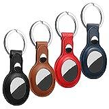 LONXAN Lot de 4 anneaux porte-clés pour Apple AirTag en cuir compatible avec AirTags Coque de protection portable Pendant porte-clés pour AirTags
