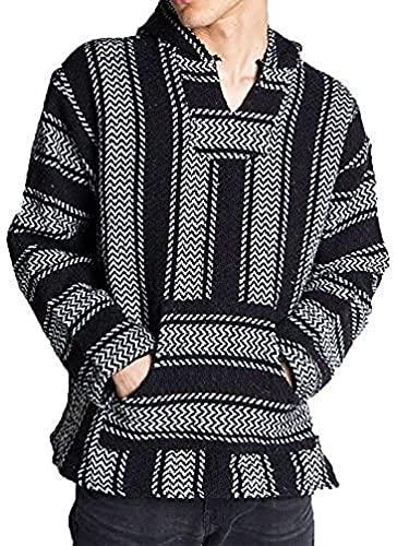 Baja Joe Striped Woven Eco-Friendly Jacket Coat Hoodie (Black, Large)