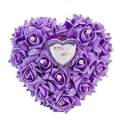 L.BAN Romantisches herzförmiges weißes Rosenkissen Ehering-Ring Ringkissen mit elegantem Blumenkissen Satinring (lila)
