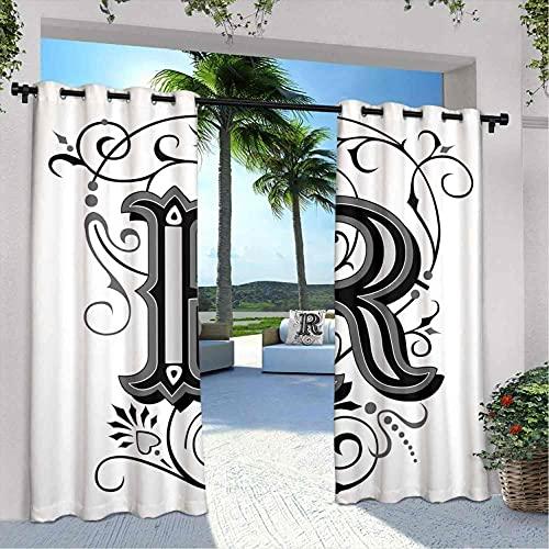 Cortinas impermeables con diseño de letra R, estilo barroco, antiguo, con espirales aristocráticos ingleses, para dormitorio, sala de estar, porche, pérgola, 22 x 250 cm, negro, gris y blanco