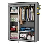UDEAR Closet Organizer Wardrobe Clothes Storage Shelves, Non-Woven Fabric Cover with Side Pockets,41.3 x 17.7 x 66.9 inches,Grey