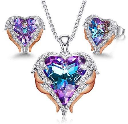 MINCHEDA Colgante y Pendientes, Juegos de Joyas Forma de Corazón para Mujer de Cristal con Caja de Regalo para Día de San Valentín