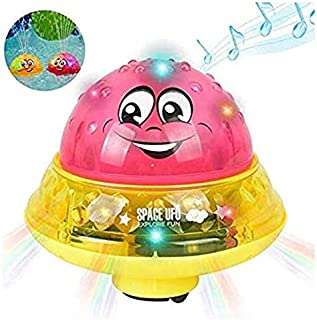 Baby Bath Toys,Light Up Floating octopus Baby Bathtub Toy,Automatically Spray Water Kids Bath Toy,girl boy Rotate Fountain Funcorn Toys,Kid Waterproof Durable Water Pump Bath Toy (Pink)