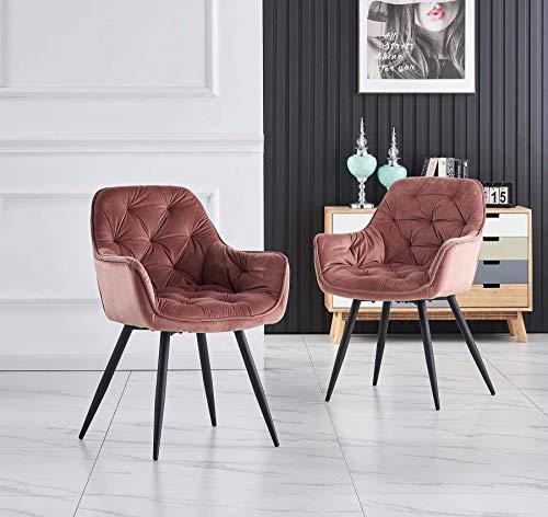 Greneric 2er Set Rosa Esszimmerstuhl aus Stoff (Samt) Wohnzimmerstuhl Farbauswahl Retro Design Armlehnstuhl Stuhl mit Rückenlehne Sessel Metallbeine Schwarz (Rosa, 2)…