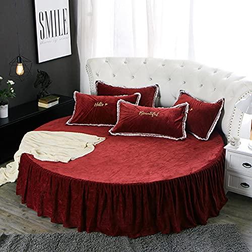DSman Protector de colchón, con Aloe Vera, (Todas Las Medidas) Cama Redonda de Felpa otoño e Invierno-Falda de Cama roja Vino_1.8m