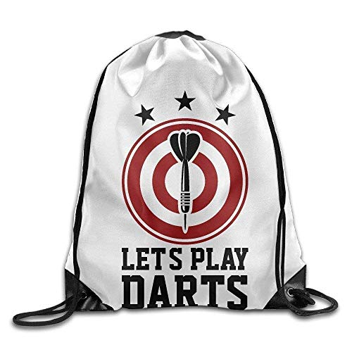 HRTSHRTE Premium Drawstring Gym Bag, Let's Play Darts with Dartboard Gym String Bag Drawstring Backpack