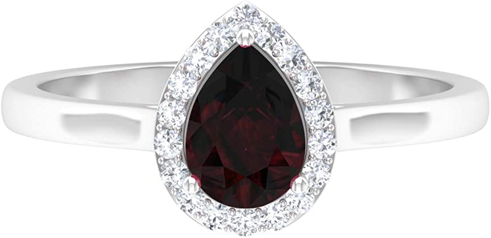 January Birthstone- 1 CT Pear Shape Garnet Solitaire Ring with Diamond Halo (AAA Quality), 14K Solid Gold