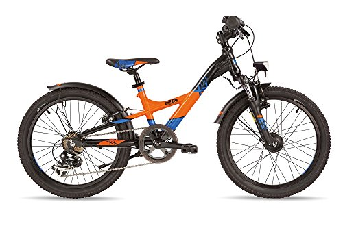 S'COOL Kinder XXlite pro 20-7 Jugendfahrrad, Black/Orange Matt, 20 Zoll