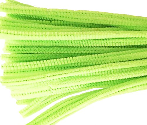 Caryko Super Fuzzy Chenille Stems Pipe Cleaners, Pack of 100 (Light Green)