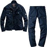 (バートル) BURTLE 綿100% 作業着・作業服 上下セット(長袖ブルゾン+カーゴパンツ) (8101,8102) ネイビー L