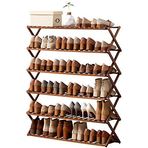 Estante de Soporte de Zapatos Estante de almacenamiento de zapatos de pie multifuncional, estantería de zapatos para zapatos, estante de zapato de 6 niveles, estantería de zapatos de bambú plegable Al