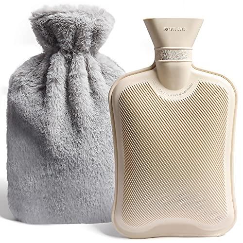 Wärmflasche mit Bezug, 2L Wärmflasche mit Abnehmbare und Weichem Plüschbezug, Wärmeflasche für Schulter Nacken Rücken Taille Beine (Grau)