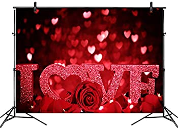 LB 7x5ft Valentines Day Backdrops for Photography Red Love Heart Rose Flower Backdrop Mother s Party Wedding Bridal Shower Banner Background Photo Booth Studio Props