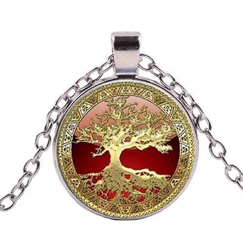 Collar de lujo de oro del árbol de la vida para las mujeres joyería de moda arte foto cristal redondo colgante collar collares