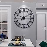 Große Wanduhr im Vintage-Stil, rund, Metall, geräuschlos, nicht tickend, batteriebetrieben, 60 cm, schwarze römische Ziffern, Uhren für Wohnzimmer, Schlafzimmer, Küche, Dekoration, 50 cm
