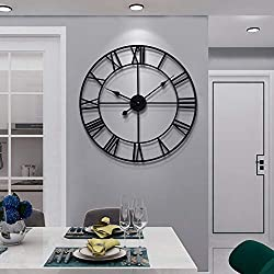 Large Modern Metal Wall Clocks Rustic Round Silent Non Ticking Battery Operated Black Roman Numerals Clock for Living Room/Bedroom/Kitchen Wall Decor-47cm