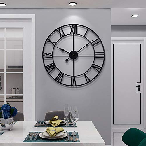 Große Wanduhr im Vintage-Stil, rund, Metall, geräuschlos, nicht tickend, batteriebetrieben, 60cm, schwarze römische Ziffern, Uhren für Wohnzimmer, Schlafzimmer, Küchendekoration