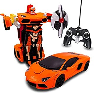 Transformania Toys Kids Bull RC Toy Car Transforming Robot Remote Control One Button Transformation Realistic Engine Sounds 360 Speed Drifting Weapon Included Toys For Boys 1:14 Scale (Orange)