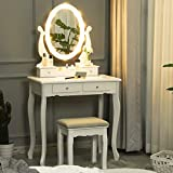 Tiptiper <span class='highlight'>Vanity</span> Table with 10 LED Light Bulbs, Dressing Table with Oval Mirror and Stool, <span class='highlight'>Makeup</span> Table for <span class='highlight'>Girls</span>, Kids, Women