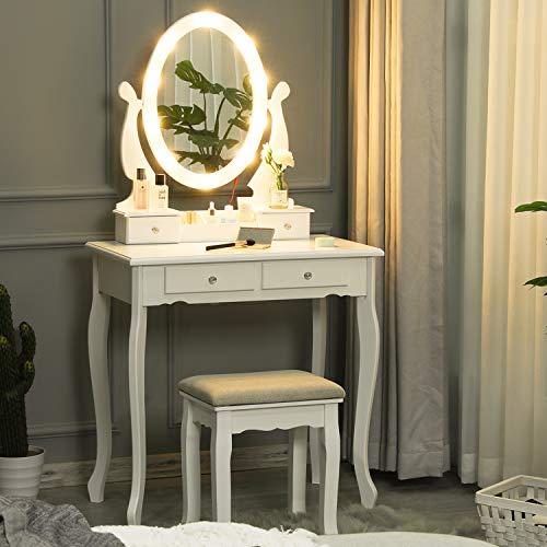 Tiptiper Schminktisch mit 10 LED-Birnen, Frisiertisch mit Ovalem Spiegel und Hocker für Mädchen und Frauen, Weiß