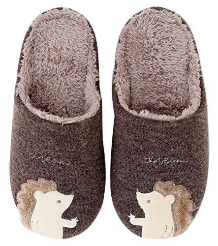 IBAIOU Winter Unisex Cute Hedgehog Slippers Warme Flauschige Hausschuhe aus weichem Fleece Plüsch Baumwolle Tier Hausschuhe Schuhe (39/40 EU, Coffee)
