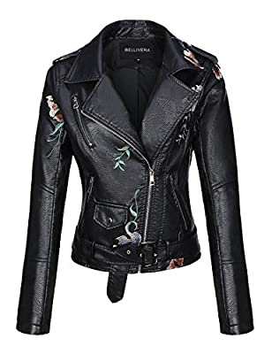 Bellivera Spring Faux Leather Jacket For Women Womens Long Sleeves Winter Faux Leather Embroidery Floral Zipper Jacket,Black1702020,Medium