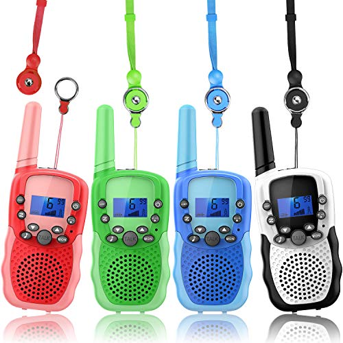 Wishouse Childrens Walkie Talkie Sets for Boys Girls 4 Pack,Family 2 Way Radio Walky Talky for Kids with Flashlight,Camping Games Toys Halloween Cosplay Xmas Birthday Gift Present for 3-10 Year Old