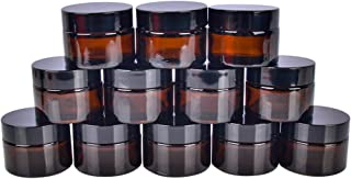 12 pack 30 ml 1 oz Amber Glass Jars with White Inner Liners and black Lids.Glass Round Jars Prefect for Cosmetics and Face cream Lotion.