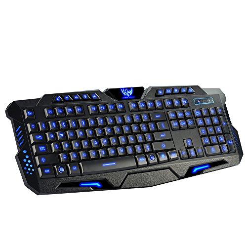 Vococal® 114-Tasten Aussetzung Stil Tasten Kappen 3-Farbig LED Hintergrundbeleuchtung USB Verdrahtet Mechanische Gaming-Tastaturen