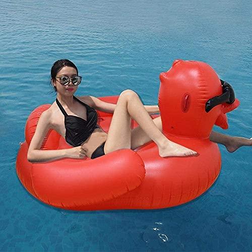 Verano Nuevo gran pato rojo cama flotante juguetes inflables, adulto grande anillo de natación flotante agua flotador juguetes flotadores, juguetes de playa -190x190x100cm flotadores de la piscina