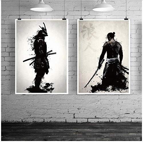 Zwart en Wit Japanse Samurai Poster, 2 Panel Abstracte Muur Art Canvas Schilderij, Woonkamer Slaapkamer Kantoor…
