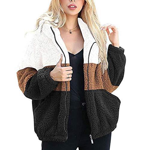 ELEAMO Teddy pluche jas imitatiebont Womens winter capuchon jassen pluizige dikke warme kleur bijpassende casual open voorzijde vest S-XXL