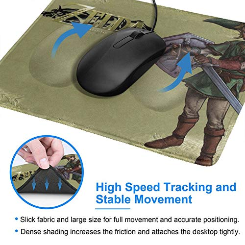 Link The Legend of Zelda: Twilight Princess Gaming Mouse Pad with Stitched Edge Premium-Textured Mat Non-Slip Rubber Base for Desktop Laptop Computers Keyboard Office 10×12 Inches Photo #4