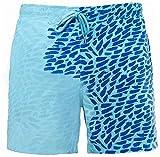 RZKJ Costume da bagno da uomo, con colori cangianti che cambiano colore, costume da spiaggia, costume da surf h M