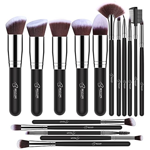 BESTOPE Makeup Brushes 18 Pieces Makeup Brush Set (Silver)