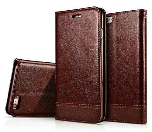 Dfly, custodia per smartphone, custodia a libro in ecopelle (PU) con doppio lato magnetico marrone Brown iPhone 6 / 6S 4.7'