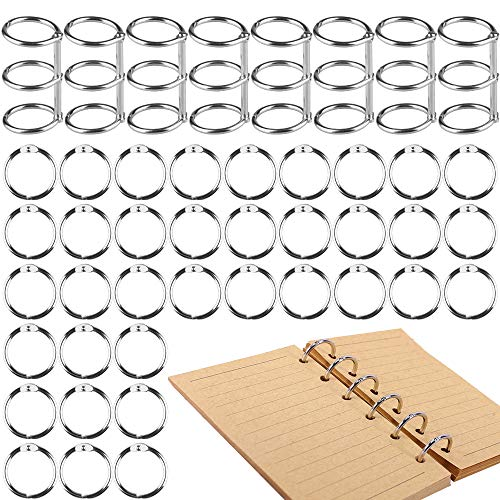 [44 Pcs] 0.9 inch Loose Leaf Binder Rings for Notebook Cover Resin Mold, Tomorotec 3 Holes Metal Loose Leaf Binder Rings for Notebook Diary Photo Album Binding (Silver)
