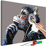 murando Dipingere con i Numeri Kit Affe Monkey Banksy 60x40cm DIY Fai da Te Quadri da Dipingere Numerati per Adulti Bambini Dipinti a Mano su Tela Pittura Cornice n-A-0603-d-a