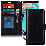 FYY Luxury PU Leather Wallet Case for Samsung Galaxy Note 9, [Kickstand Feature] Flip Phone Case Protective Cover with [Card Holder] [Wrist Strap] for Samsung Galaxy Note 9 Black